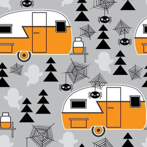 Halloween trailers on grey