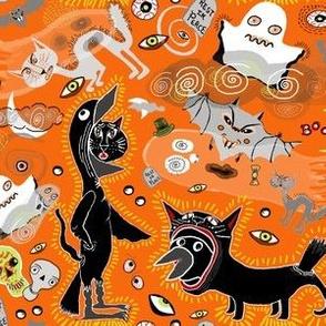 sept2016catsvsravens, Halloween costume contest, black cat vs. raven, orange