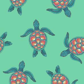 Mandala Turtle - Teal