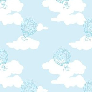 Daydream Balloons in Baby Blue // Repeat pattern for Wallpaper or Children's Fabric // Nursery Print by Zoe Charlotte