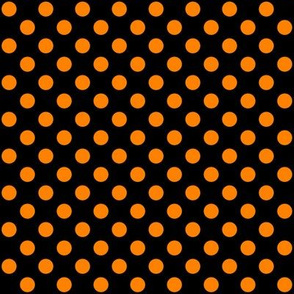 Black + Polka Orange Dots