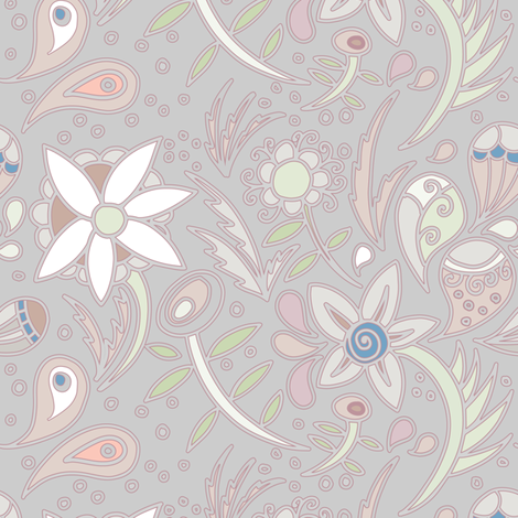 Subdued floral fabric by danidesign on Spoonflower - custom fabric