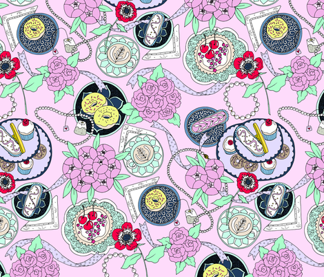 Tea Party Pink fabric by emmakisstina on Spoonflower - custom fabric