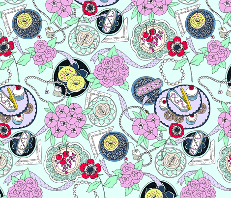 Tea Party Blue fabric by emmakisstina on Spoonflower - custom fabric