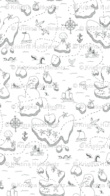 Treasure Map Black and White