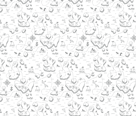 Treasure Map Black and White fabric by emmakisstina on Spoonflower - custom fabric