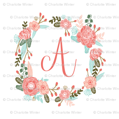 """A monogram girls sweet florals flowers flower wreath girls monogram pillow fabric swatch design mini 8"""" swatch size  personalized personal letter quilt fabric cute girls design"""