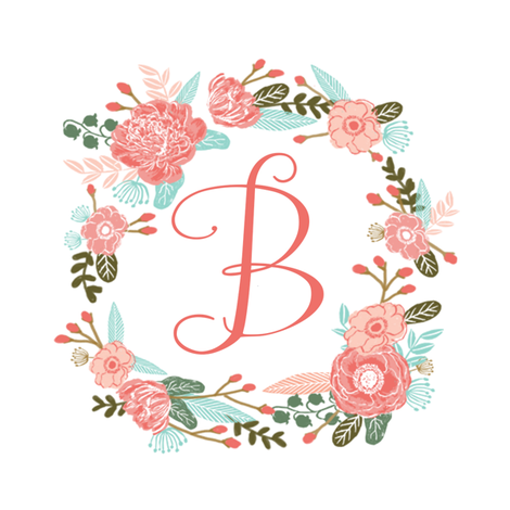 """B monogram girls sweet florals flowers flower wreath girls monogram pillow fabric swatch design mini 8"""" swatch size  personalized personal letter quilt fabric cute girls design fabric by charlottewinter on Spoonflower - custom fabric"""