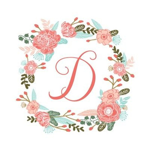 "D monogram girls sweet florals flowers flower wreath girls monogram pillow fabric swatch design mini 8"" swatch size  personalized personal letter quilt fabric cute girls design"