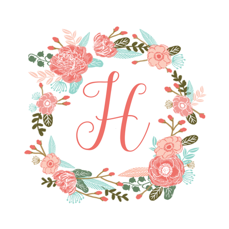 h monogram girls sweet florals flowers flower wreath girls