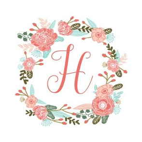 "H monogram girls sweet florals flowers flower wreath girls monogram pillow fabric swatch design mini 8"" swatch size  personalized personal letter quilt fabric cute girls design"