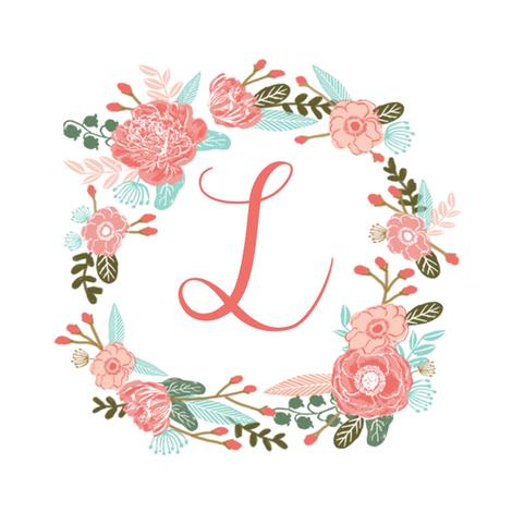 L monogram girls sweet florals flowers flower wreath girls