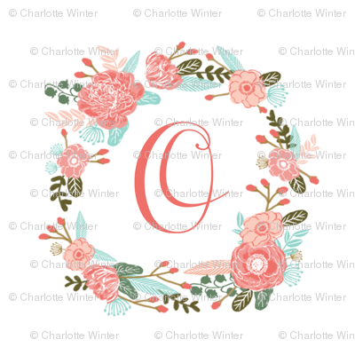 """O monogram girls sweet florals flowers flower wreath girls monogram pillow fabric swatch design mini 8"""" swatch size  personalized personal letter quilt fabric cute girls design"""