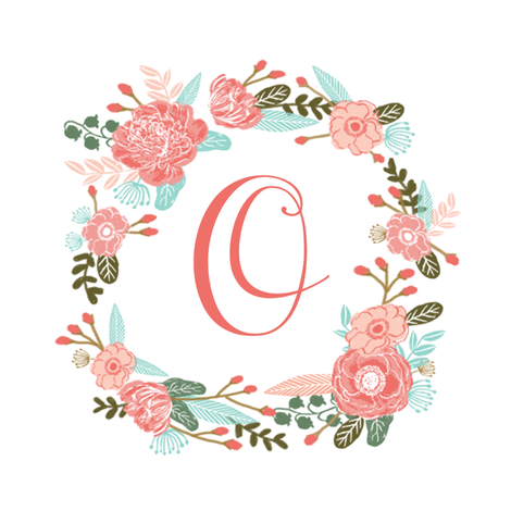 """O monogram girls sweet florals flowers flower wreath girls monogram pillow fabric swatch design mini 8"""" swatch size  personalized personal letter quilt fabric cute girls design fabric by charlottewinter on Spoonflower - custom fabric"""