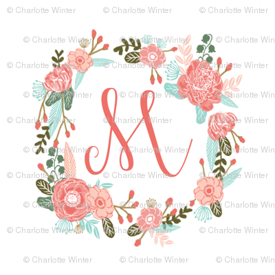 "M monogram girls sweet florals flowers flower wreath girls monogram pillow fabric swatch design mini 8"" swatch size  personalized personal letter quilt fabric cute girls design"