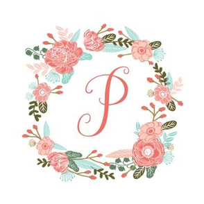 "P monogram girls sweet florals flowers flower wreath girls monogram pillow fabric swatch design mini 8"" swatch size  personalized personal letter quilt fabric cute girls design"