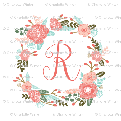 "R monogram girls sweet florals flowers flower wreath girls monogram pillow fabric swatch design mini 8"" swatch size  personalized personal letter quilt fabric cute girls design"