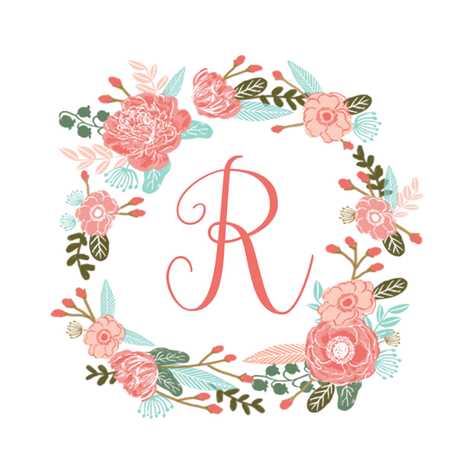 "R monogram girls sweet florals flowers flower wreath girls monogram pillow fabric swatch design mini 8"" swatch size  personalized personal letter quilt fabric cute girls design fabric by charlottewinter on Spoonflower - custom fabric"