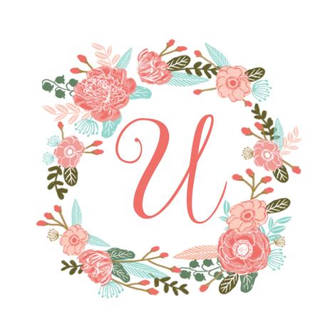 U monogram girls sweet florals flowers flower wreath girls ...