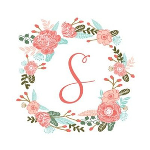 "S monogram girls sweet florals flowers flower wreath girls monogram pillow fabric swatch design mini 8"" swatch size  personalized personal letter quilt fabric cute girls design"