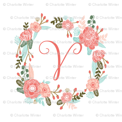 """V monogram girls sweet florals flowers flower wreath girls monogram pillow fabric swatch design mini 8"""" swatch size  personalized personal letter quilt fabric cute girls design"""