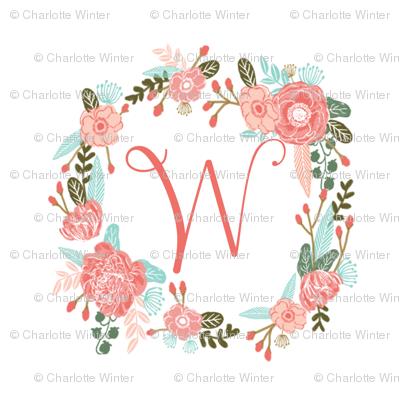 W Monogram Girls Sweet Florals Flowers Flower Wreath Girls