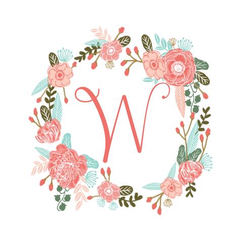 W monogram girls sweet florals flowers flower wreath girls ...