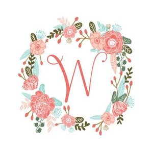 "W monogram girls sweet florals flowers flower wreath girls monogram pillow fabric swatch design mini 8"" swatch size  personalized personal letter quilt fabric cute girls design"
