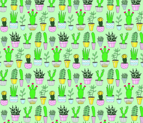 Cacti Green fabric by emmakisstina on Spoonflower - custom fabric