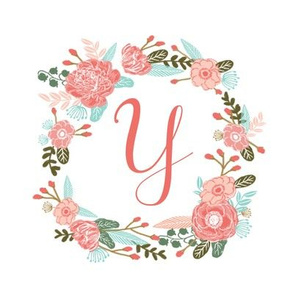 "Y monogram girls sweet florals flowers flower wreath girls monogram pillow fabric swatch design mini 8"" swatch size  personalized personal letter quilt fabric cute girls design"