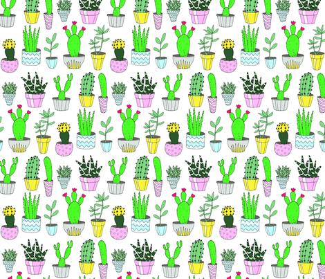 Cacti White fabric by emmakisstina on Spoonflower - custom fabric