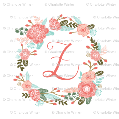 """Z monogram girls sweet florals flowers flower wreath girls monogram pillow fabric swatch design mini 8"""" swatch size  personalized personal letter quilt fabric cute girls design"""