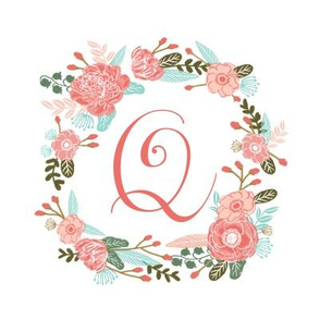 "Q monogram girls sweet florals flowers flower wreath girls monogram pillow fabric swatch design mini 8"" swatch size  personalized personal letter quilt fabric cute girls design"