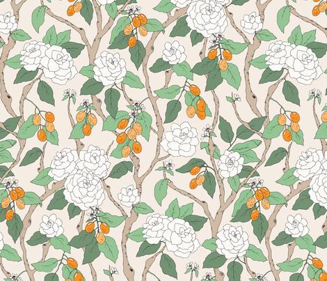 Gardenias and Kumquats fabric by emmakisstina on Spoonflower - custom fabric