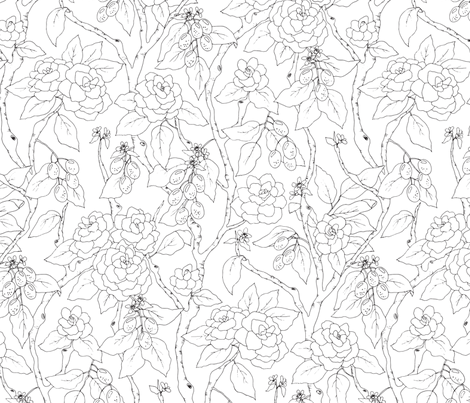Gardenias and Kumquats Black and White fabric by emmakisstina on Spoonflower - custom fabric