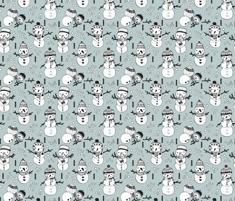 Cute winter snowman sweet snow woodland design with snow puppet in black and white and ice blue fabric by littlesmilemakers on Spoonflower - custom fabric
