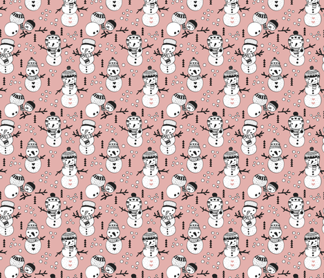 Cute winter snowman sweet snow woodland design with snow puppet in black and white and soft peach pink fabric by littlesmilemakers on Spoonflower - custom fabric