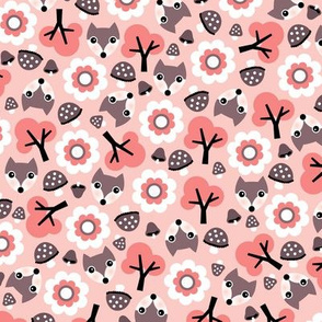 Baby fox fall pattern cute tossed woodland design for fall and winter pink coral