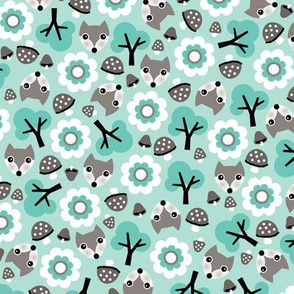 Baby fox fall pattern cute tossed woodland design for fall and winter mint