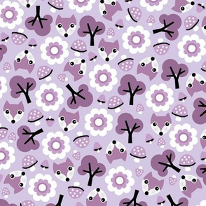 Baby fox fall pattern cute tossed woodland design for fall and winter lilac