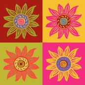 Sunflower Linocut Blocks - Bright Colorway