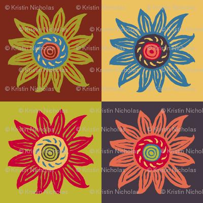 Sunflower Linocut Blockprint - Muted Shades