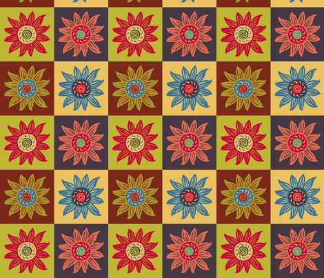 Sunflower Linocut Blockprint - Muted Shades fabric by kristin_nicholas on Spoonflower - custom fabric