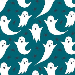Halloween ghosts on dark teal