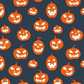 Halloween Jack O lanterns on dark gray