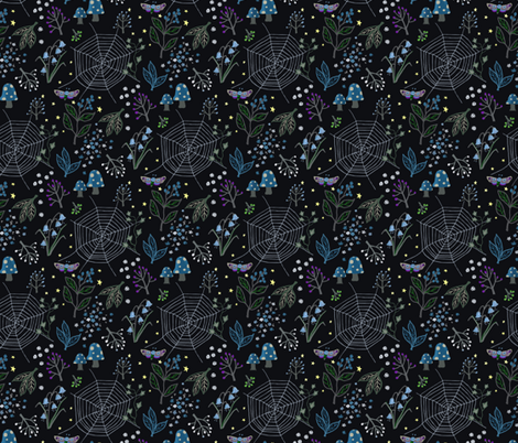 Night garden - dark background fabric by rachelmacdonald on Spoonflower - custom fabric