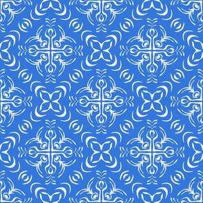 Tropical Geometric Tile in Blue