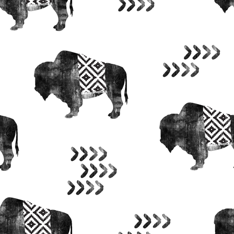 buffalo aztec - distressed || b&w fabric by littlearrowdesign on Spoonflower - custom fabric