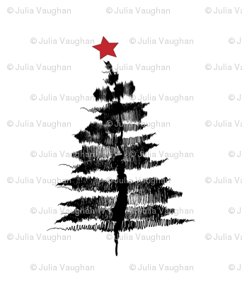 Ink Sketch Christmas Tree Wallpaper Wilderandbean Spoonflower