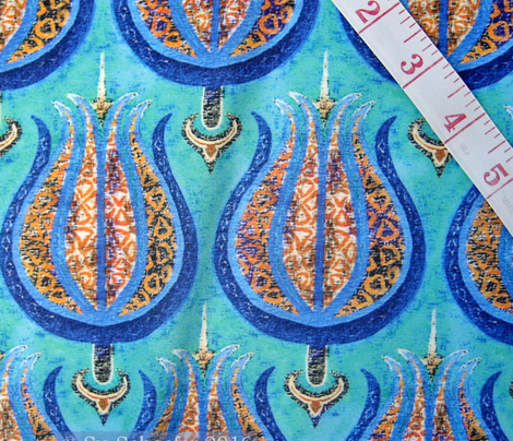 Old gold + silver in cerulean blue tulips on aquamarine by Su_G_©SuSchaefer